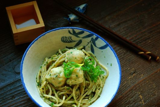 Shrimp Dumplings with Asian Herb Noodles