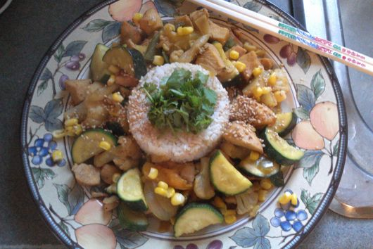 Oriental Spring Chicken w/Zucchini and Corn