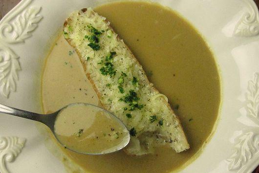 "Garlic Soup With Gruyere ""Crouton"""