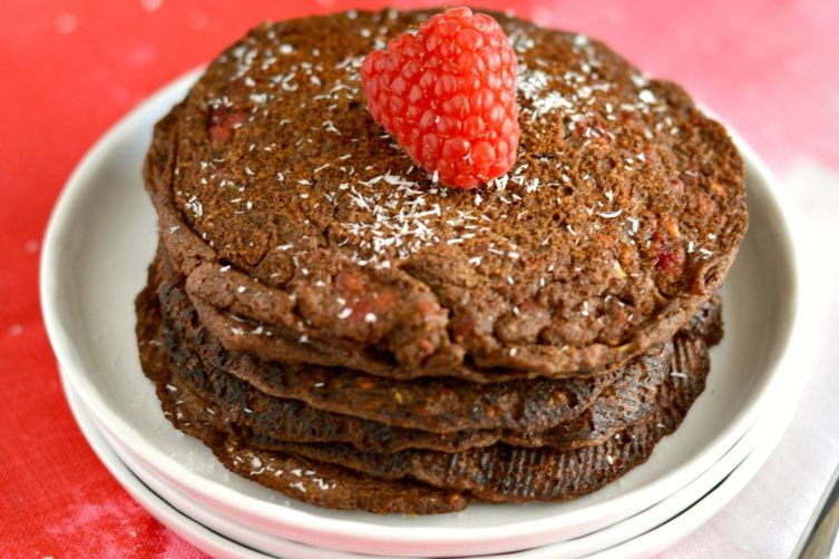 Raspberry Chocoholic Buckwheat Pancakes