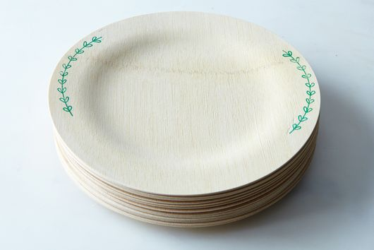 Hand-Printed Compostable Bamboo Plates