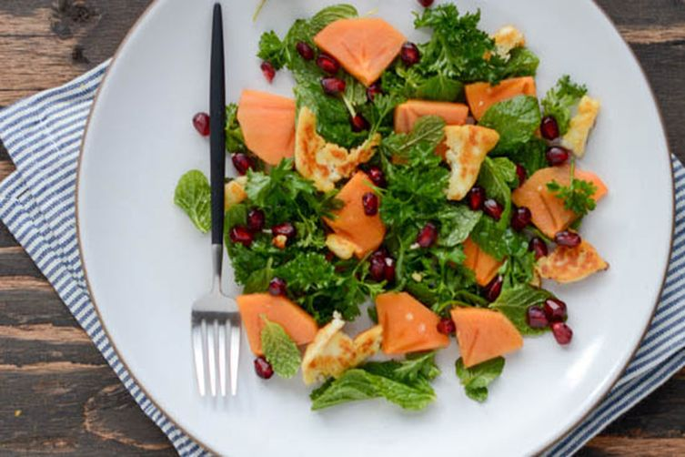 Winter persimmon and pomegranate salad