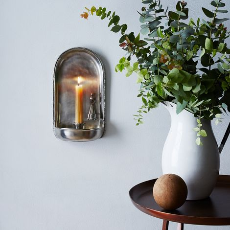 Pewter Wall Sconce with Candle Snuffer
