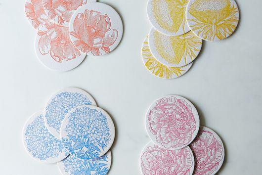 Floral Letterpress Coaster (Set of 16)