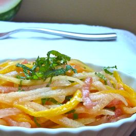 Melon Mango Slaw with Lime and Ginger