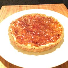 Coconut Custard Tart with Roasted Pear and Chestnut Honey Syrup