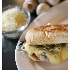 Spicy Mushroom Torta with Queso Quesadilla