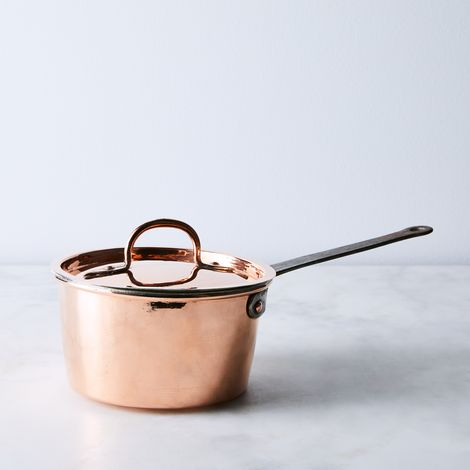 Vintage Copper French Handmade Saucepan, Mid 19th Century