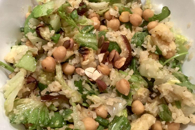 Cauliflower Rice Salad with Chickpeas and Eggplant