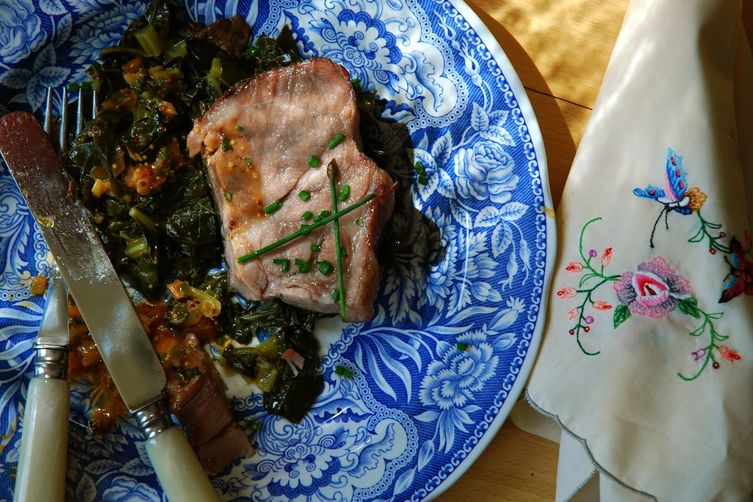 Freedom Pork with Sticky Greens and Mop Sauce