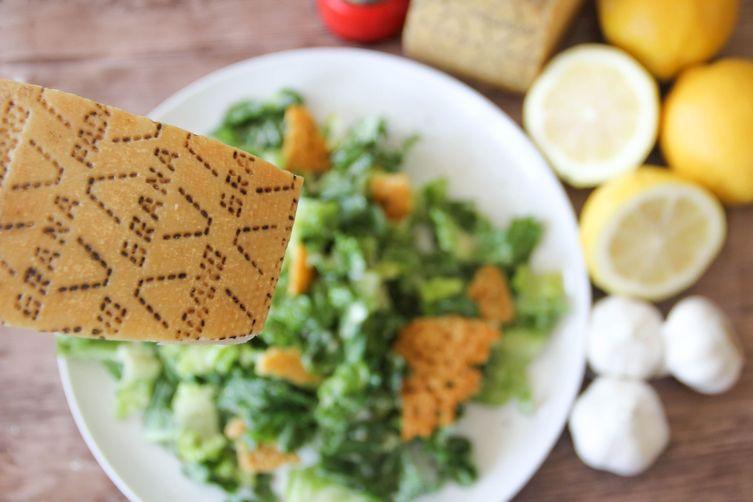 Caesar Salad with Garlicy Grana Padano Dressing and Frico Croutons