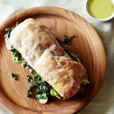 Avocado and Marinated Kale Salad Sandwich
