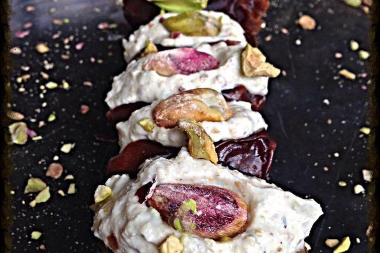 Ricotta Stuffed Dates with Pistachios