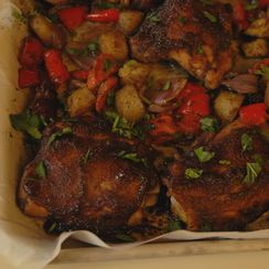 Sweet and spicy chicken sheet pan supper