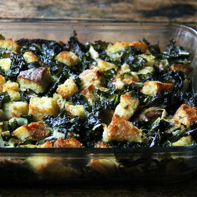 (Freezable) Stuffing with Caramelized Onions & Kale