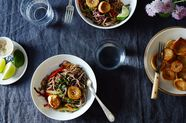 "Sesame Noodle Salad with Seared Mushroom ""Scallops"""