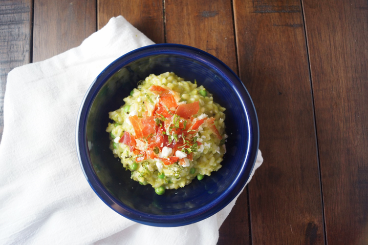 Pea Risotto with Crispy Prosciutto, Feta, and Mint
