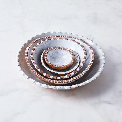 Handmade Ceramic Carved Rim Nesting Bowls
