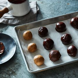 No-Bake Dark Chocolate Almond Butter Bon Bons