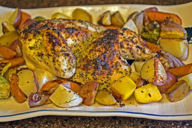 Garlic Roast Chicken With Roasted Root Vegetables