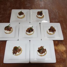 Walnut Rosemary Cracker topped with Goat and Mascarpone Cheese with Fig Compote