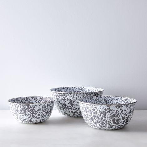 Grey Splatter Enamel Nesting Mixing Bowls (Set of 3)