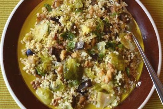 Crunchy Millet Brussels Sprout Salad w/ Walnut Vinaigrette