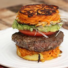 Burger With Guacamole On Sweet Potato Noodle Bun