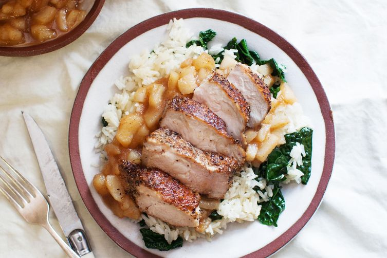 Seared Pork Chop with Salty Apricots, Rice and Buttery Kale