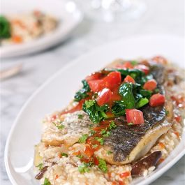 SAUTEED BARRAMUNDI WITH VEGETABLE RISOTTO AND TOMATO WINE SAUCE