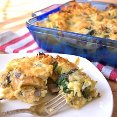 Savory Bread Pudding with Spinach, Leeks, and Mushrooms