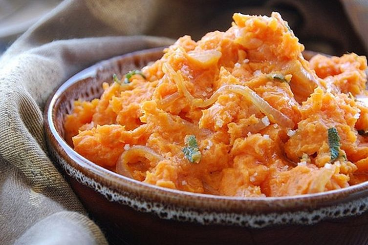 Olive Oil, Caramelized Onion, and Sage Mashed Sweet Potatoes