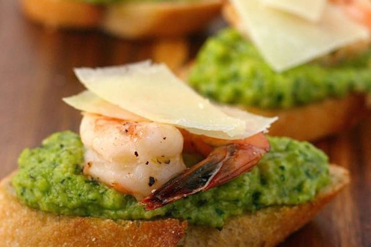Roasted Shrimp and Fava Bean Pesto Toasts Recipe on Food52
