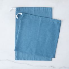 Nordic Blue Linen Bread Bags (Set of 2)