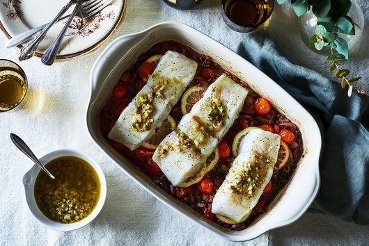 Lentil, Tomato & Olive Baked Cod with Lemon-Caper Vinaigrette