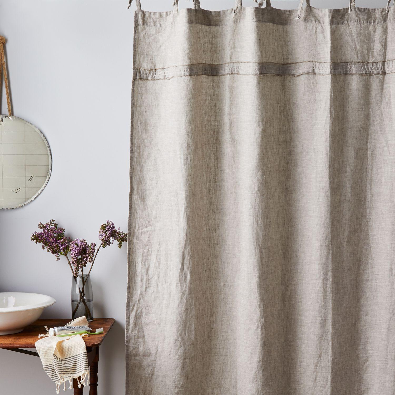oatmeal linen shower curtain