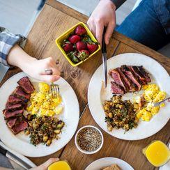 Harissa Steak & Eggs with Quinoa Tabbouleh Hash