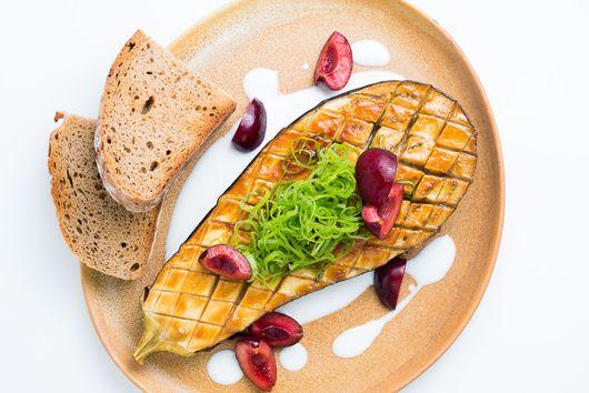 Miso Roasted Eggplant, Cherries & Kefir