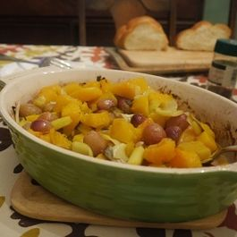 Roasted Butternut Squash with Leeks, Grapes and Sage