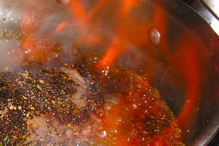 Brandy Maple Pepper Steak Flambe