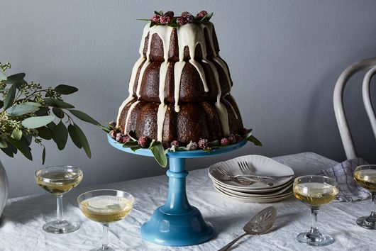 3-Tiered Gingerbread Bundt Cake With Eggnog Glaze & Candied Cranberries