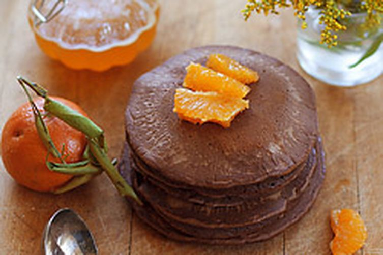 Chocolate Cardamom Pancakes with Orange Glaze
