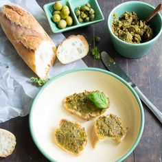 Roasted green tomato and olive tapenade