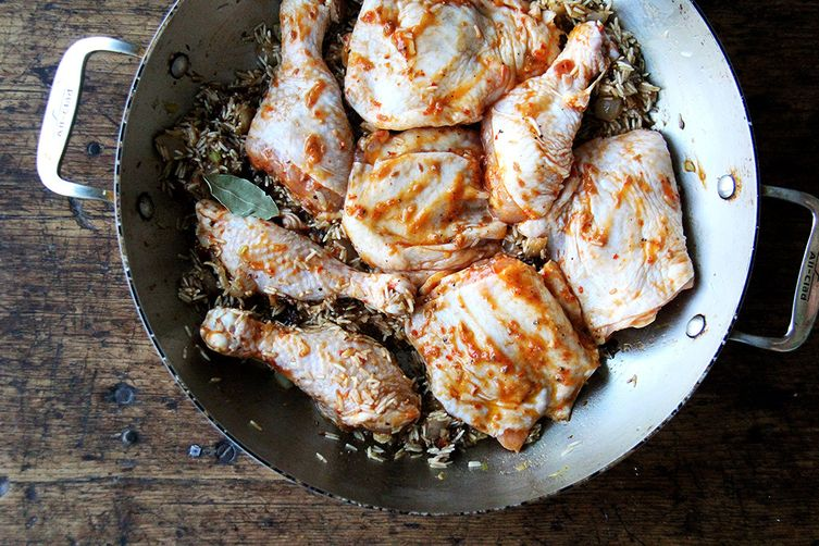 Moroccan-Spiced Chicken and Rice with Dates and Pistachios