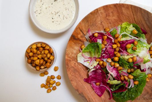Creamy Tahini Salad with Spicy Roasted Chickpeas