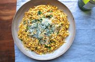 Dinner Tonight: Linguine with Red Pesto and Corn