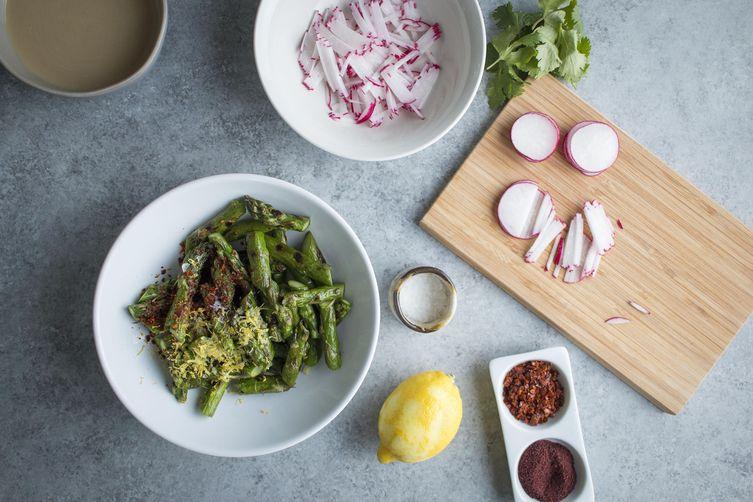 Hummus with Aleppo Asparagus & Sumac Radish Salad