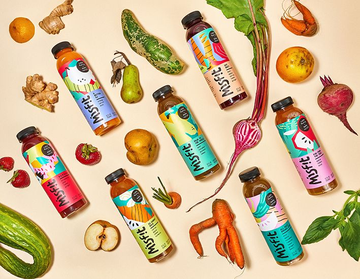 Fruits and vegetables deemed wrong in size, shape, or color are turned into fresh, cold-pressed juices.