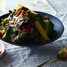 Braised Chard with Tahini and Pine Nuts