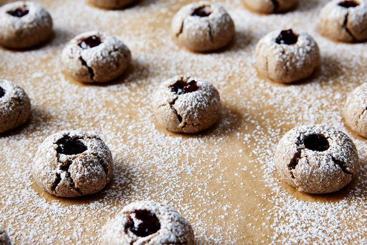 Buckwheat Thumbprint Cookies with Cherry Preserves